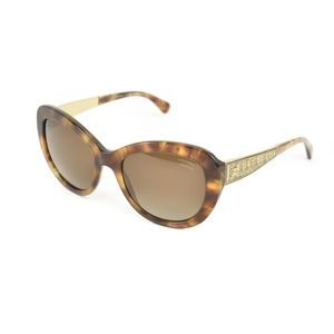 "CHANEL Havana Brown & ""CC"" Polarized Sunglasses ix"